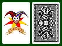 Joker playing card. On black and backside background. Original design. There is in addition a vector format (EPS 8 Stock Photo