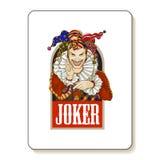 Joker playing card design. Men in joker costume. Colored vector illustration stock illustration