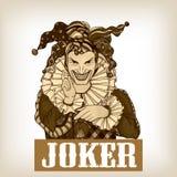 Joker playing card design. Men in joker costume. Colored illustration vector illustration