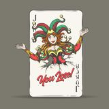 Joker Playing Card with Wording You Lose. Joker coming out of fractured playing card with lettering You Lose. Vector illustration vector illustration