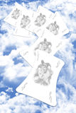 Joker Playing Cards. Joker Playing Card On A Cloudy Sky Background Stock Image