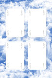 Joker Playing Cards. Scatered Over The Blue Cloudy Sky Royalty Free Stock Image