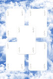 Joker Playing Cards. Scatered Over The Blue Cloudy Sky Stock Photography
