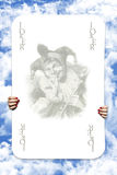 Joker Playing Cards. Scatered Over The Blue Cloudy Sky Stock Photos