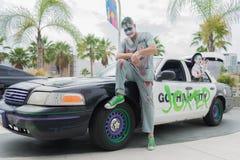 Joker police car on display. Long Beach, CA - USA - September 12, 2015: Joker police car on display at The Long Beach Comic Con held at the Long Beach Convention Stock Photography