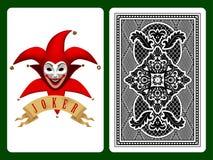 Joker rouge jouant la carte illustration de vecteur