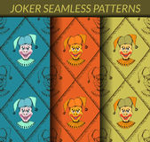 Joker seamless patterns. No gradients and clipping mask. Royalty Free Stock Photography