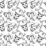 Joker skull seamless pattern Stock Photo