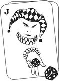 Joker throwing dice from inside a playing card. Illustration Stock Photography