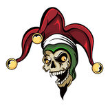 Joker Vampire Skull. Vector fantasy illustration of a laughing angry joker vampire zombie skull wearing a clown hat with three gold bells Royalty Free Stock Photos