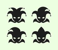 Joker w błazen nakrętce z dzwon ikonami ustawiać ilustracji