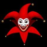 Jokerhoofd in rood GLB een wit die masker op zwarte wordt geïsoleerd Royalty-vrije Stock Fotografie