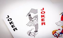 Jokers. Two joker cards on white background Stock Photo