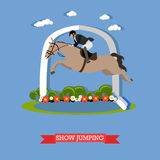 Jokey accomplishes a horse jumping, vector design Stock Images