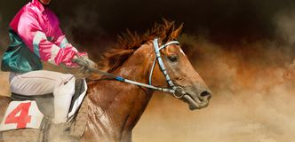 Jokey on a thoroughbred horse runs on color background stock photo