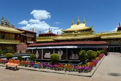 Jokhang Monastery in Lhasa. Located in the center of the ancient city of Lhasa, the Jokhang Monastery was built in the seventh century. Jokhang is the Stock Image