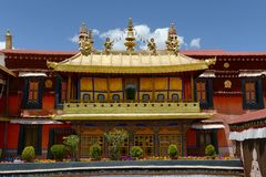Jokhang Monastery in Lhasa. Located in the center of the ancient city of Lhasa, the Jokhang Monastery was built in the seventh century. Jokhang is the Royalty Free Stock Image