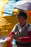 Jokhang Temple and Barkhor Square Devotee of Lhasa Tibet Stock Photography