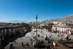 Jokhang Temple and Barkhor Square and its Devotees Lhasa Tibet Royalty Free Stock Photography