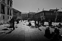 Jokhang Temple and the Barkhor Square, Lhasa Tibet Royalty Free Stock Photos