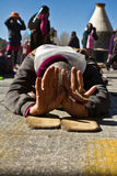 Jokhang Temple and Barkhor Square prostrator, Lhasa Tibet Stock Image