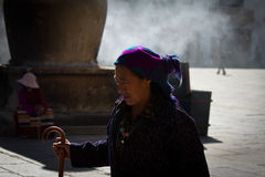 Jokhang Temple and Barkhor SquareDevotee and insence Lhasa Tibet Stock Images
