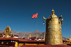 Jokhang Temple and Chinese flag, Lhasa Tibet Royalty Free Stock Images
