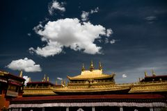 Jokhang Temple Tibetan Buddhism Lhasa Tibet. Jokhang Temple House of the Lord in Lhasa is the holiest site in Tibetan Buddhism, attracting crowds of prostrating Royalty Free Stock Photography