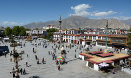 The Jokhang temple in Lhasa. The Barkhor square in front of the Jokhang temple in Lhasa,Tibet. View from the roof of the temple Stock Photography