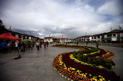 Jokhang Temple in Lhasa, Tibet, China. The famous temple was built in the 7th century, is the oldest wooden building in Tibet, was two boat-shaped temple, after Royalty Free Stock Photo