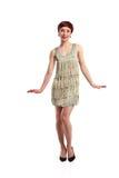 Joking fashion model wearing white dress Stock Photos
