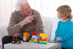 Joking with grandson Royalty Free Stock Images