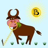 A joking picture on the theme of cryptocurrency - a bull on the lawn is chewing banknotes, instead of the sun in the sky he has a stock photo