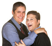 Joking Woman with Butch Partner Stock Image