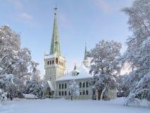 Jokkmokk ny kyrka i vinter, Sverige arkivfoto