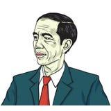 Jokowi Joko Widodo De Tekeningsvector van het kleurenportret 1 juli, 2017 Royalty-vrije Stock Foto
