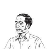 Jokowi Joko Widodo Portrait Drawing 25 mei, 2017 Stock Afbeeldingen