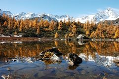 Jokul and it's reflection in tibet Royalty Free Stock Photo