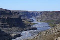 Jokulsa Canyon. Just below Dettfoss, Europe's largest waterfall, in Jokulsargljufur National Park, Iceland Stock Images