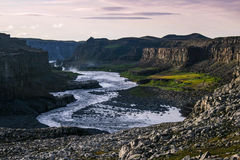 Icelandatic Canyon - Jokulsargljufur. Jokulsargljufur is one of the biggest canyon of Iceland, The river takes its water from Vatnajokull Glacier and on the Royalty Free Stock Photography