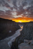 Jokulsa a Fjollum downstream from Dettifoss, Jokulsargljufur canyon in Iceland Royalty Free Stock Photography