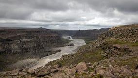 Jokulsa-a-Fjollum river. View on the Jokulsa-a-Fjolluim river near Detifoss waterfalls in Iceland stock photography