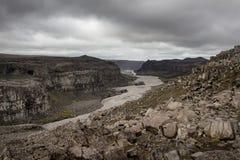 Jokulsa-a-Fjollum river. View on the Jokulsa-a-Fjolluim river near Detifoss waterfalls in Iceland stock photos