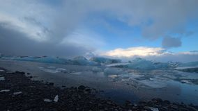 Jokulsalron glacial lake during february stock video footage