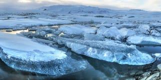 Jokulsarlon冰山全景 图库摄影