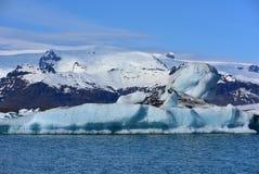 Jokulsarlon冰川盐水湖在东南冰岛 库存图片