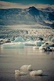 Jokulsarlon冰川盐水湖在Vatnajokull国家公园,冰岛 库存照片
