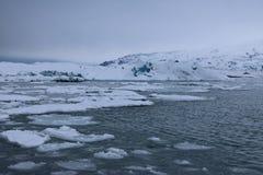 Jokulsarlon - αυστηρό χειμερινό τοπίο Στοκ εικόνα με δικαίωμα ελεύθερης χρήσης