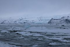 Jokulsarlon - αυστηρό χειμερινό τοπίο Στοκ φωτογραφία με δικαίωμα ελεύθερης χρήσης