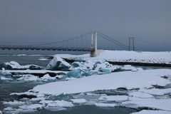 Jokulsarlon - αυστηρό χειμερινό τοπίο Στοκ Φωτογραφία